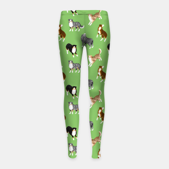 Thumbnail image of Australian Shepherd Pattern (Green Background) Girl's leggings, Live Heroes