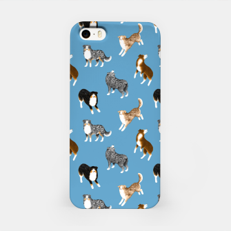 Australian Shepherd Pattern (Blue Background) iPhone Case thumbnail image