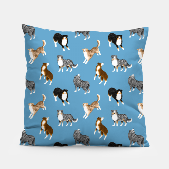 Australian Shepherd Pattern (Blue Background) Pillow thumbnail image