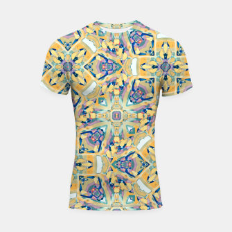 Thumbnail image of Colorful Exotic Ornate Print Shortsleeve rashguard, Live Heroes