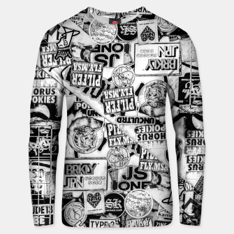 Thumbnail image of Black and White Urban Collage Print Unisex sweater, Live Heroes