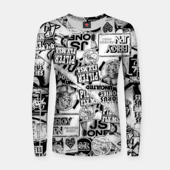Thumbnail image of Black and White Urban Collage Print Women sweater, Live Heroes