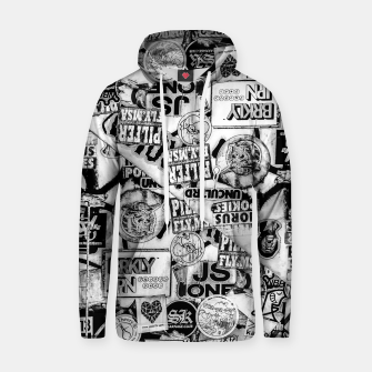 Thumbnail image of Black and White Urban Collage Print Hoodie, Live Heroes