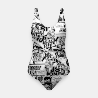 Thumbnail image of Black and White Urban Collage Print Swimsuit, Live Heroes
