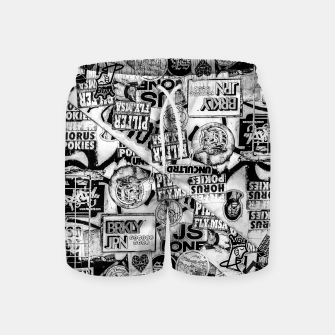 Thumbnail image of Black and White Urban Collage Print Swim Shorts, Live Heroes