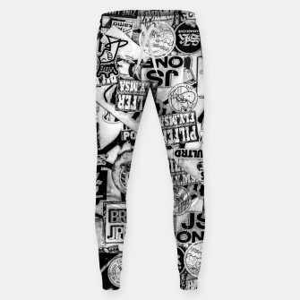 Thumbnail image of Black and White Urban Collage Print Sweatpants, Live Heroes