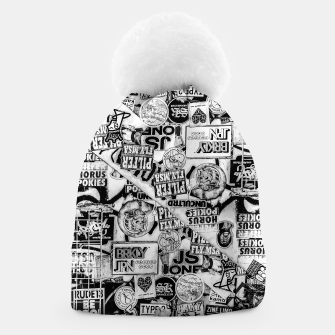 Thumbnail image of Black and White Urban Collage Print Beanie, Live Heroes