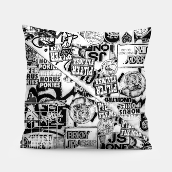 Miniatur Black and White Urban Collage Print Pillow, Live Heroes