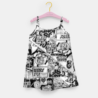 Miniatur Black and White Urban Collage Print Girl's dress, Live Heroes