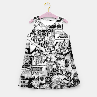 Miniatur Black and White Urban Collage Print Girl's summer dress, Live Heroes