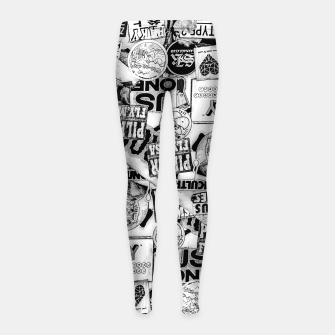Thumbnail image of Black and White Urban Collage Print Girl's leggings, Live Heroes