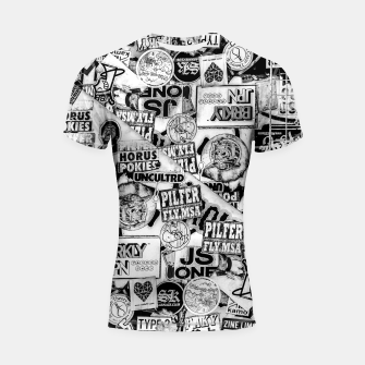 Thumbnail image of Black and White Urban Collage Print Shortsleeve rashguard, Live Heroes