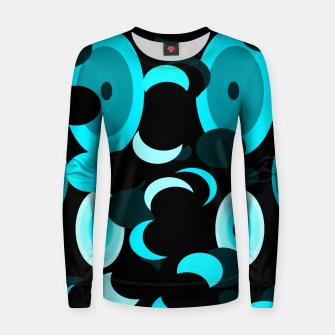 Miniaturka black blue turquoise planets and moons Women sweater, Live Heroes