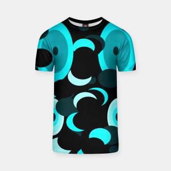 Miniatur black blue turquoise planets and moons T-shirt, Live Heroes