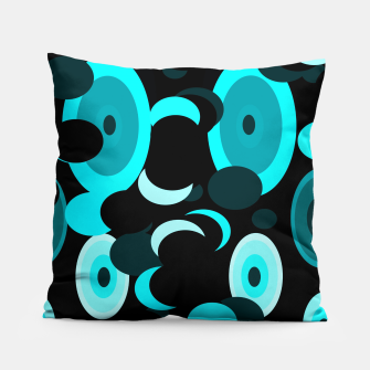 Miniatur black blue turquoise planets and moons Pillow, Live Heroes