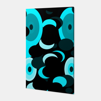 Miniatur black blue turquoise planets and moons Canvas, Live Heroes