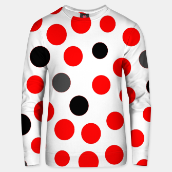 Thumbnail image of black red grey white dots on white background Unisex sweater, Live Heroes
