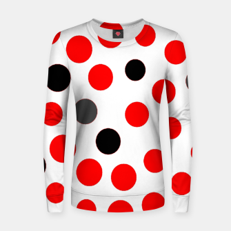 Thumbnail image of black red grey white dots on white background Women sweater, Live Heroes