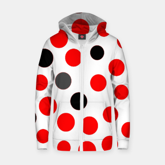 Thumbnail image of black red grey white dots on white background Zip up hoodie, Live Heroes