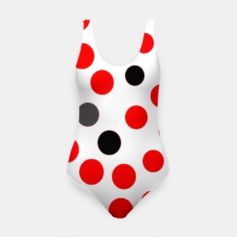 Thumbnail image of black red grey white dots on white background Swimsuit, Live Heroes