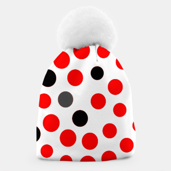 Thumbnail image of black red grey white dots on white background Beanie, Live Heroes
