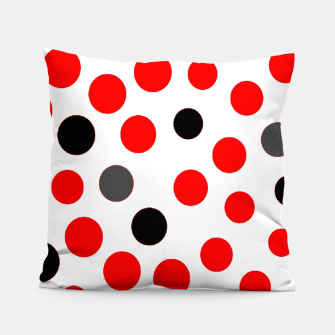 Thumbnail image of black red grey white dots on white background Pillow, Live Heroes
