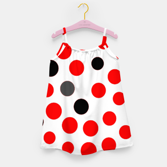 Thumbnail image of black red grey white dots on white background Girl's dress, Live Heroes