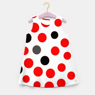 Thumbnail image of black red grey white dots on white background Girl's summer dress, Live Heroes