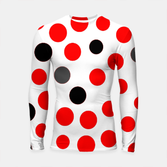 Thumbnail image of black red grey white dots on white background Longsleeve rashguard , Live Heroes