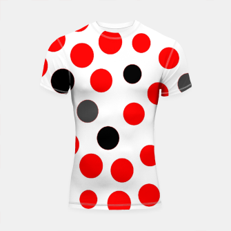 Thumbnail image of black red grey white dots on white background Shortsleeve rashguard, Live Heroes