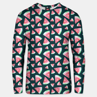 Imagen en miniatura de Watermelon Pattern-Dark Green and Coral Unisex sweater, Live Heroes