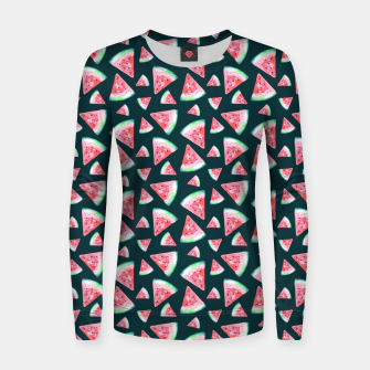 Imagen en miniatura de Watermelon Pattern-Dark Green and Coral Women sweater, Live Heroes