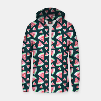 Imagen en miniatura de Watermelon Pattern-Dark Green and Coral Zip up hoodie, Live Heroes