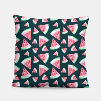 Imagen en miniatura de Watermelon Pattern-Dark Green and Coral Pillow, Live Heroes