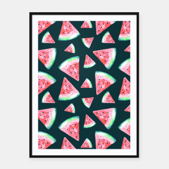 Imagen en miniatura de Watermelon Pattern-Dark Green and Coral Framed poster, Live Heroes