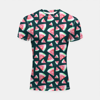 Imagen en miniatura de Watermelon Pattern-Dark Green and Coral Shortsleeve rashguard, Live Heroes