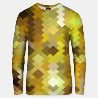 Miniature de image de geometric square pixel pattern abstract in yellow and brown Unisex sweater, Live Heroes