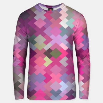 Miniaturka geometric square pixel pattern abstract in pink and purple Unisex sweater, Live Heroes