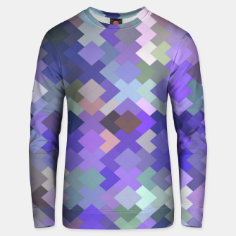 Miniature de image de geometric square pixel pattern abstract in purple and pink Unisex sweater, Live Heroes