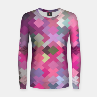 Thumbnail image of geometric square pixel pattern abstract in pink and purple Women sweater, Live Heroes