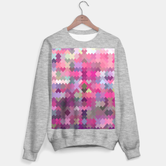 geometric square pixel pattern abstract in pink and purple Sweater regular thumbnail image