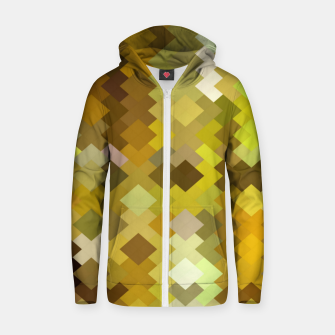 geometric square pixel pattern abstract in yellow and brown Zip up hoodie thumbnail image