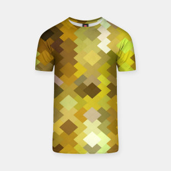 geometric square pixel pattern abstract in yellow and brown T-shirt thumbnail image