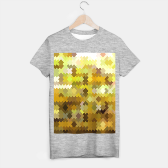geometric square pixel pattern abstract in yellow and brown T-shirt regular thumbnail image