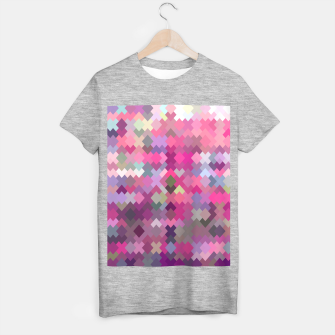 geometric square pixel pattern abstract in pink and purple T-shirt regular thumbnail image