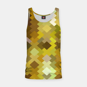 geometric square pixel pattern abstract in yellow and brown Tank Top thumbnail image
