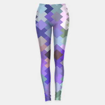 Thumbnail image of geometric square pixel pattern abstract in purple and pink Leggings, Live Heroes