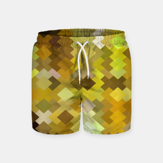 Miniature de image de geometric square pixel pattern abstract in yellow and brown Swim Shorts, Live Heroes