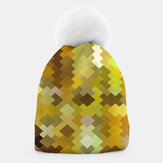 Thumbnail image of geometric square pixel pattern abstract in yellow and brown Beanie, Live Heroes