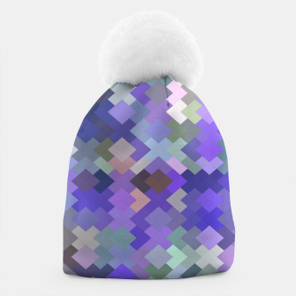 Thumbnail image of geometric square pixel pattern abstract in purple and pink Beanie, Live Heroes